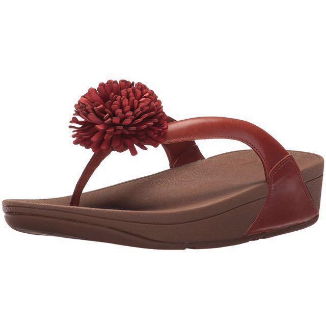 Fitflop Women's Flowerball Leather Toe-Post Fit Flop Dark Tan BNWT Original receipt