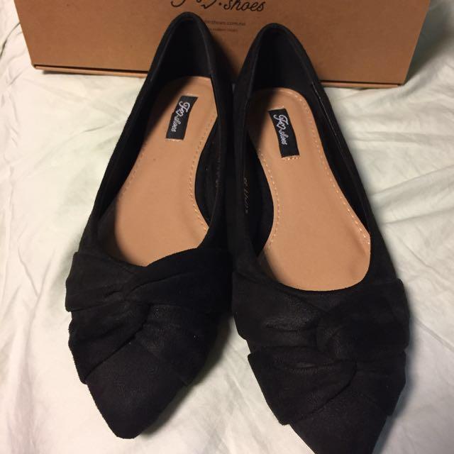 全新Fm時尚美鞋-氣質黑色絨面扭結平底鞋38號