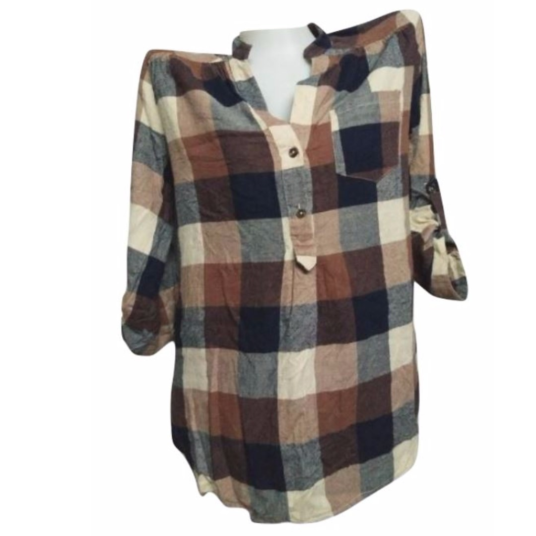 Fun 2 Fun: Brown Checkered 3/4 Blouse