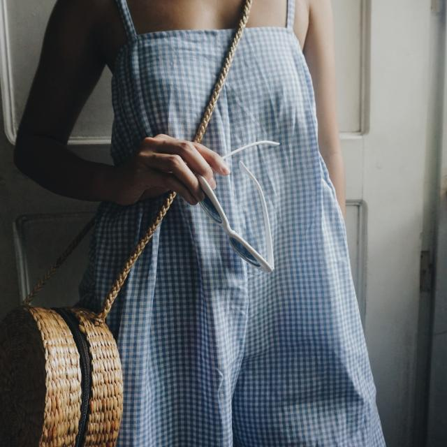 REPRICED Gingham Jumpsuit (Blue)