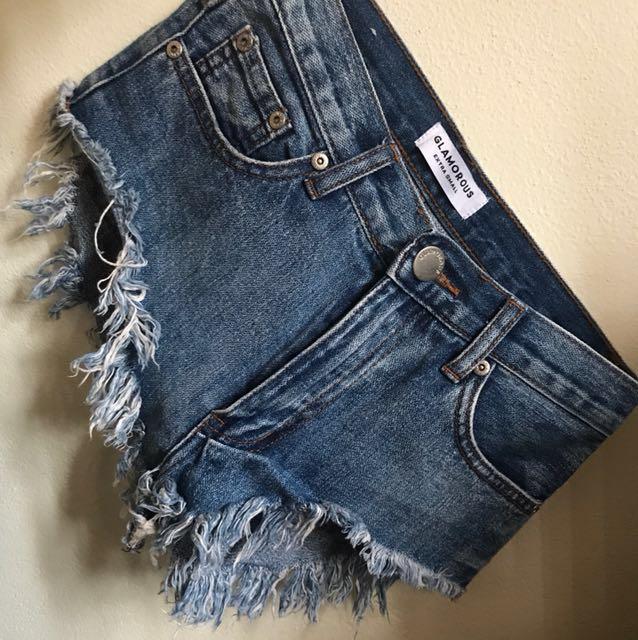 Glamorous high waisted denim shorts