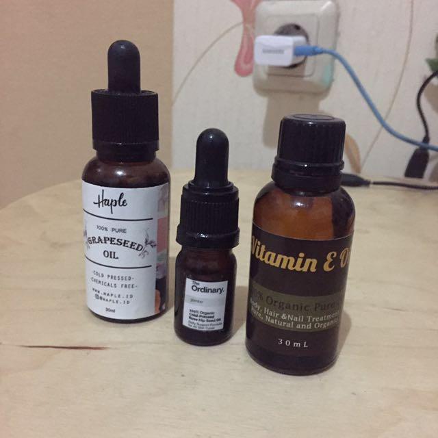 Grapeseed Oil, Rosehip Oil, Vitamin E Oil
