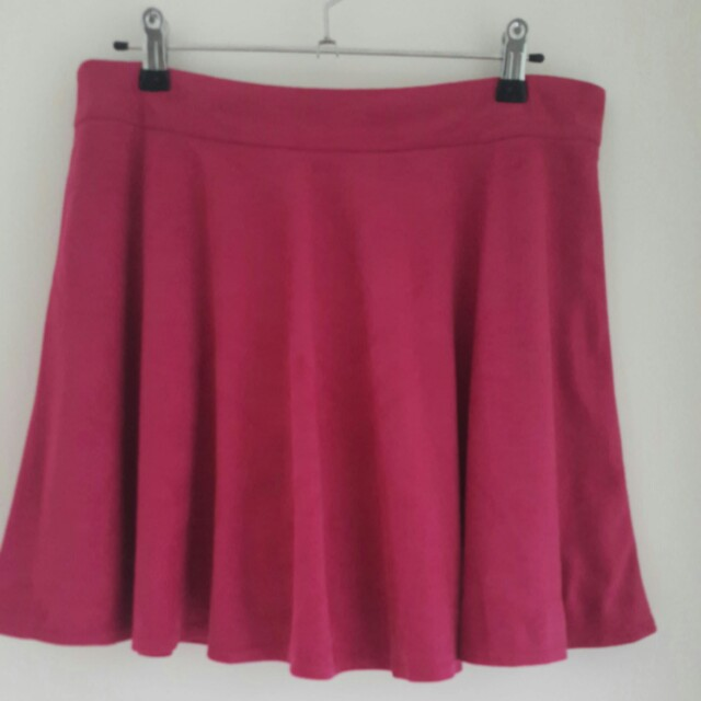 Grey & Magenta Fake Suede Skirts