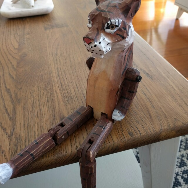 Handmade indian tiger with moving arms and legs