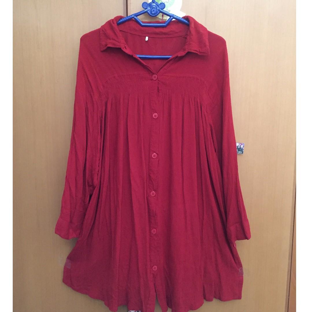 kemeja slightly blouse merah
