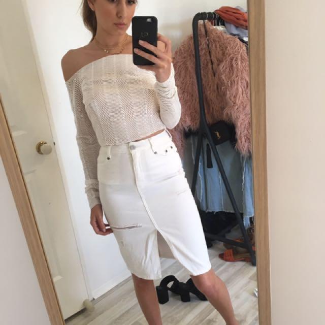 Kookai white denim skirt - size 36