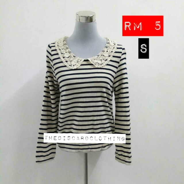 LACEY COLLAR STRIPES TOPS