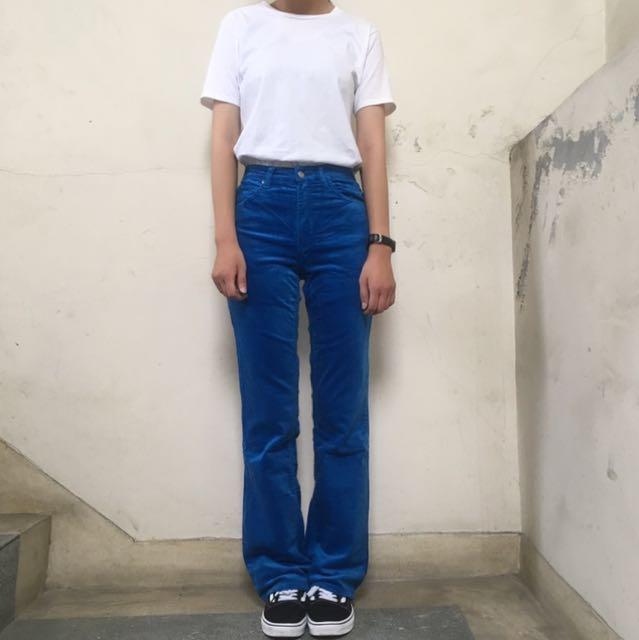 Lee老品庫存牛仔褲 燈芯絨高腰褲藍色 26腰❤️任選兩件減100✨古著復古vintage
