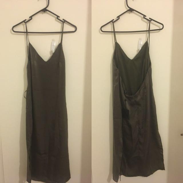 MESHKI SATIN SLIP DRESS