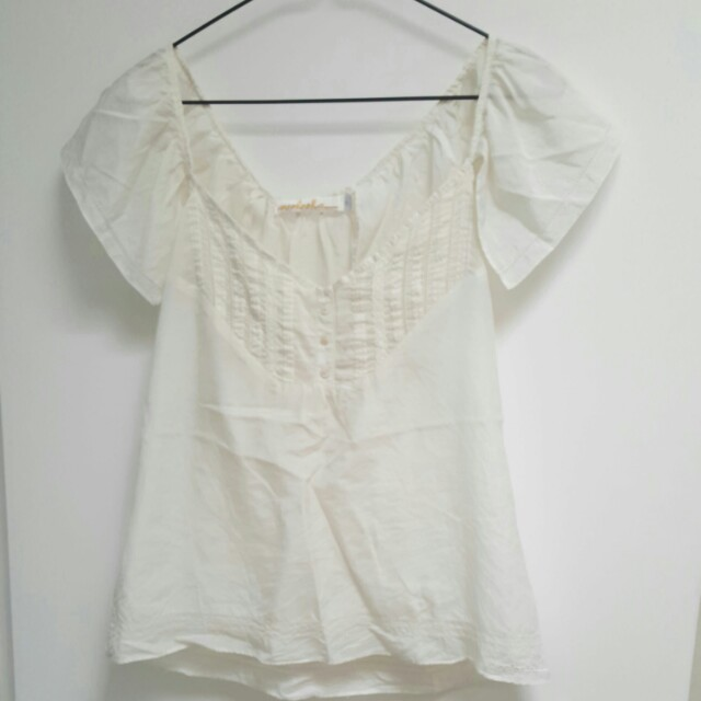 Mooloola cream silk blouse