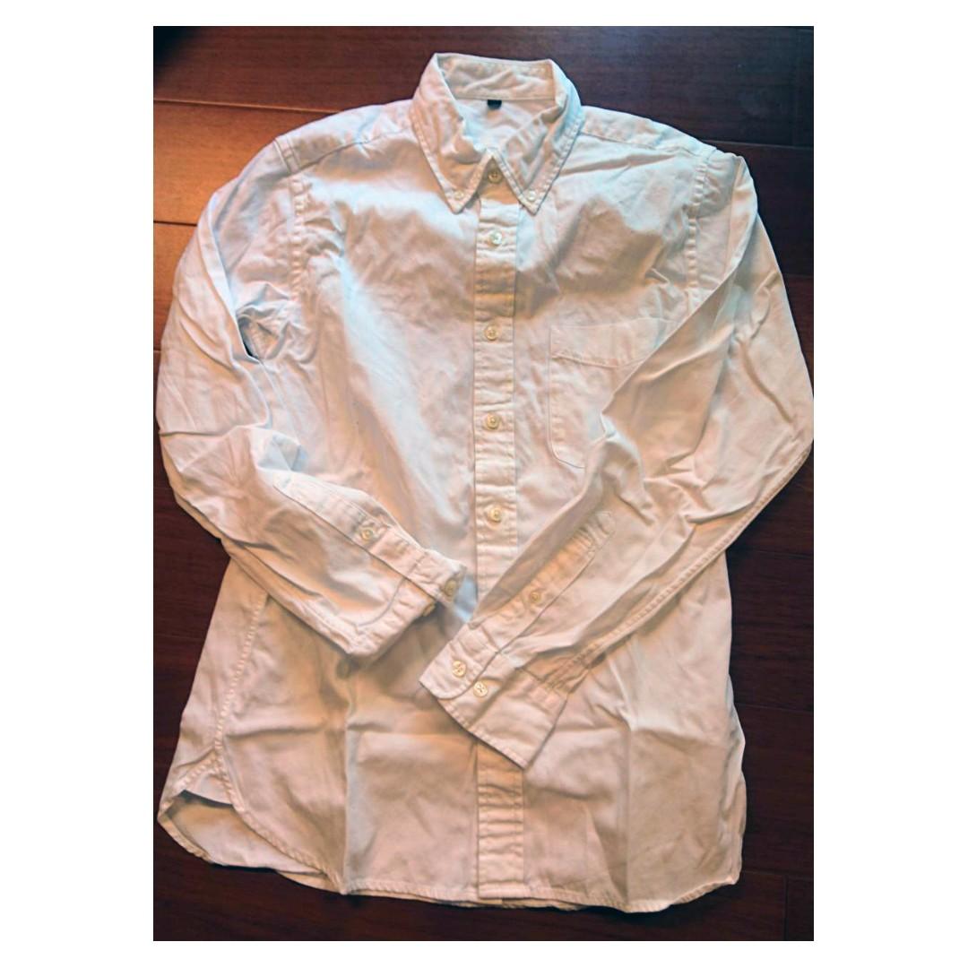 MUJI 無印良品 男款 白色素面長袖襯衫 九成新 衣服狀況佳 S號