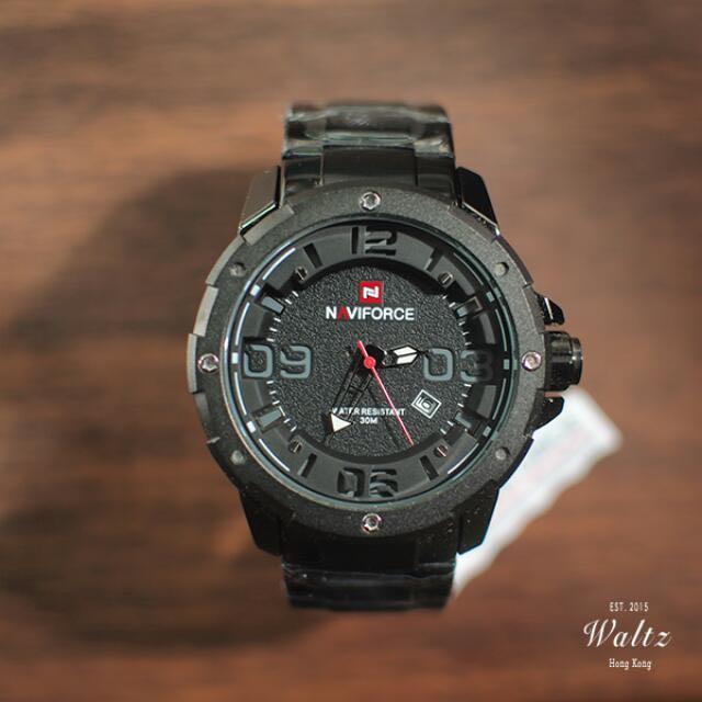 Navieforce 立體錶面軍裝黑鋼手錶