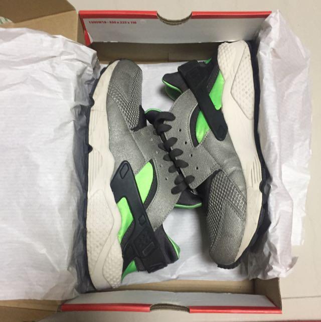 Nike Air Huarache 灰黑綠 10.5號 武士鞋
