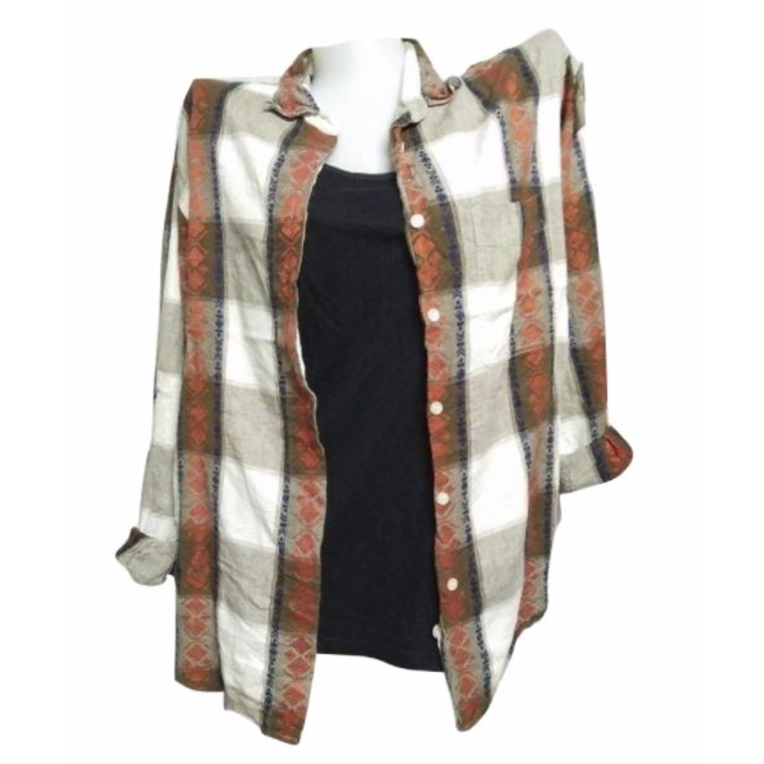 Plus Size: Brown & White Flannel Long Sleeved Polo