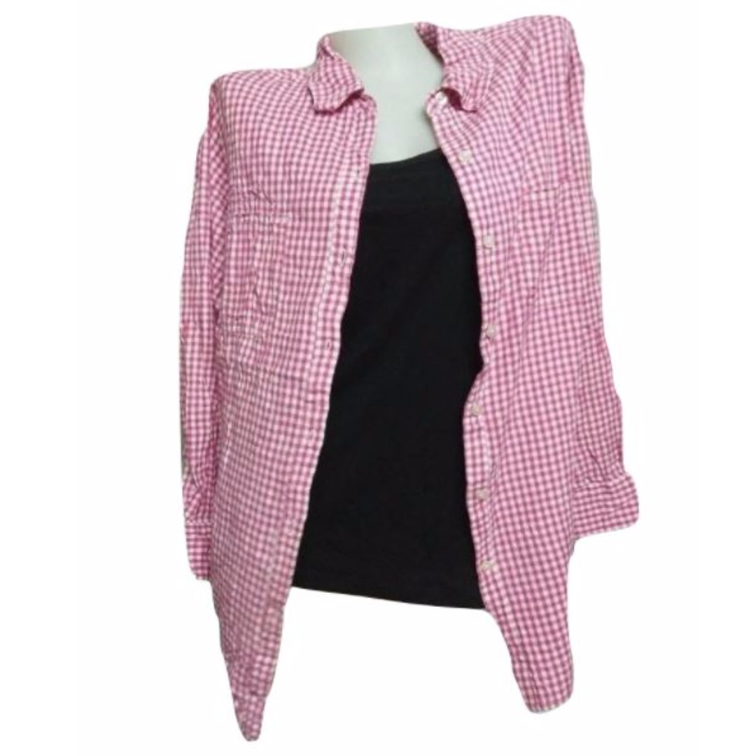 Plus Size: Pink Flannel Long Sleeve Polo