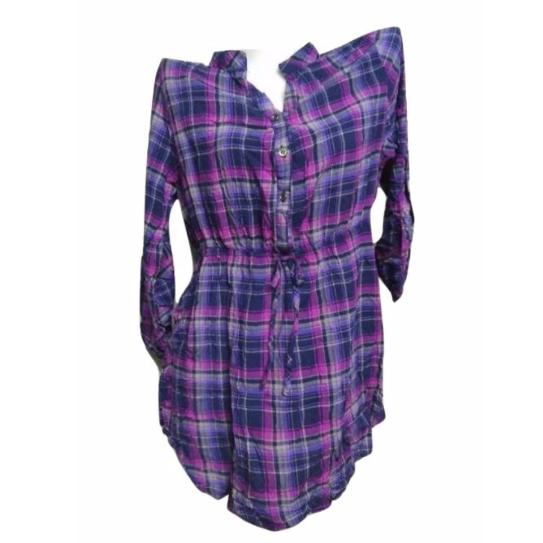 Plus Size: Plaid Violet 3/4 Sleeves Blouse