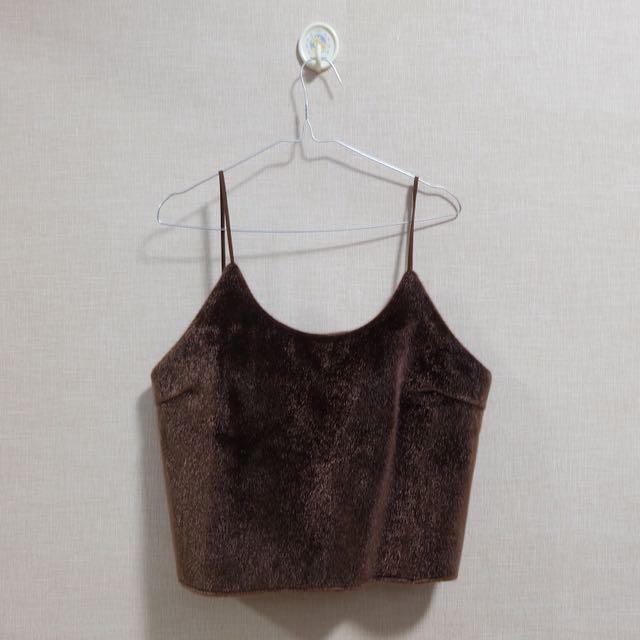 POMELO Fur Crop Tank Top