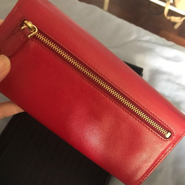 150512b2901467 Preloved) Red Prada Saffiano Leather Flap Wallet, Luxury, Bags ...
