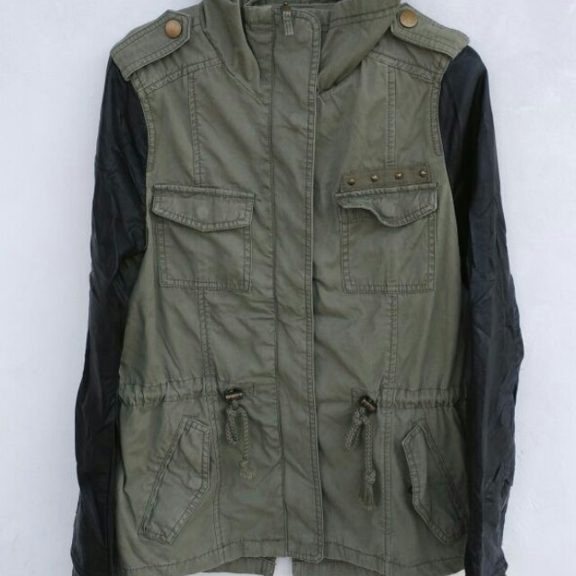 PULL&BEAR, Pull and Bear Parka with faux leather sleeved