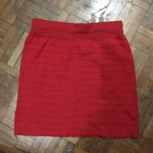 Red bodycon skirt