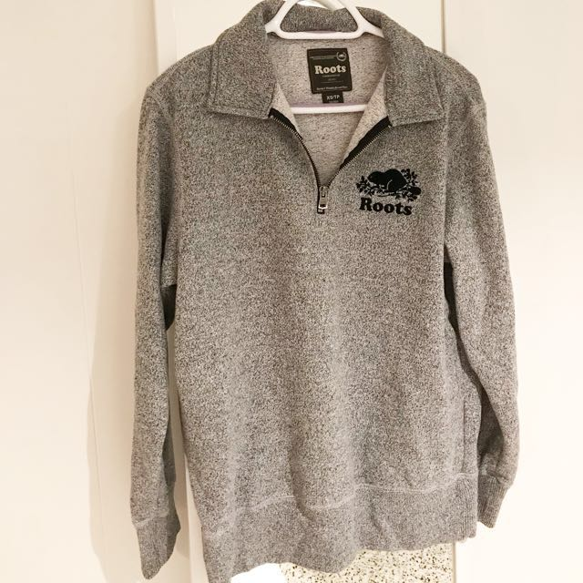 Roots Original Salt & Pepper Zip Polo Sweater