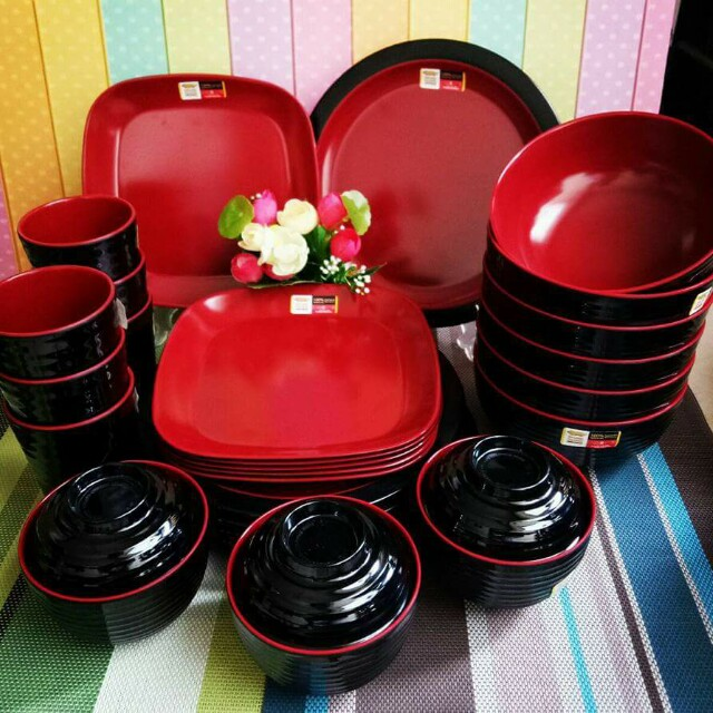 Set Melamin Merah Hitam Po 26 Okt 2017 Kitchen Appliances On