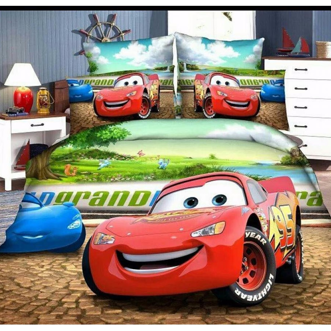 Set Single Patchwork Kartun Cars Mcqueen 95 Babies Kids Others Baju Overall Mqueen On Carousell