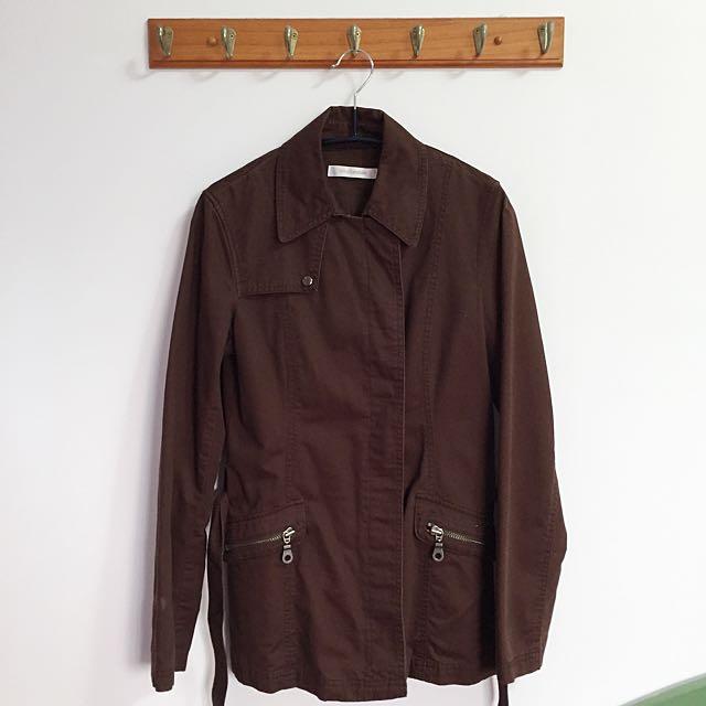 Single Noble 復古不對稱綁帶外套