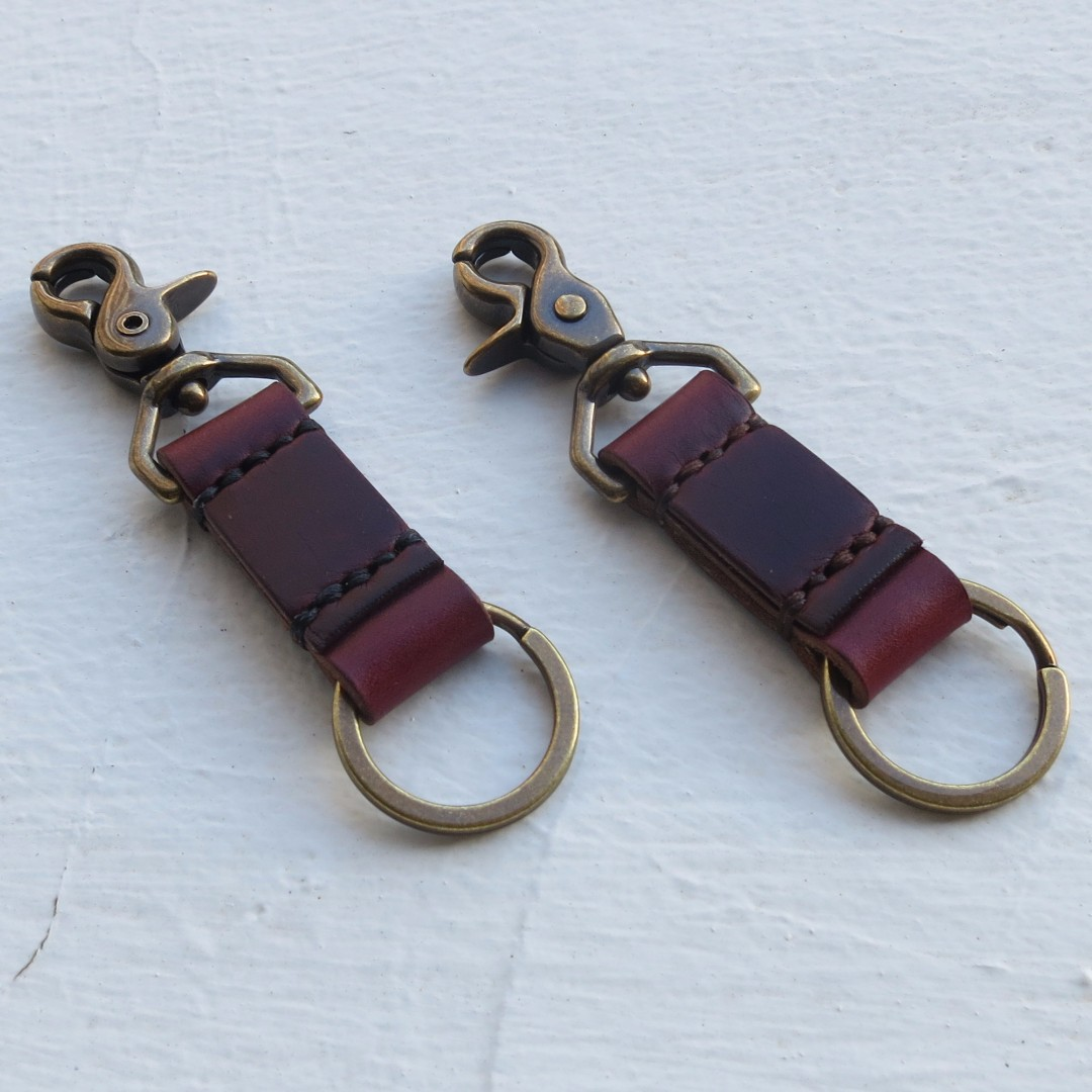 Solid Brass Snap Clip Leather Key Fob