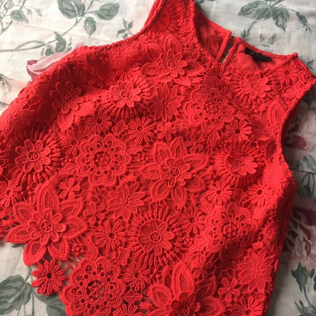 topshop tomato red top