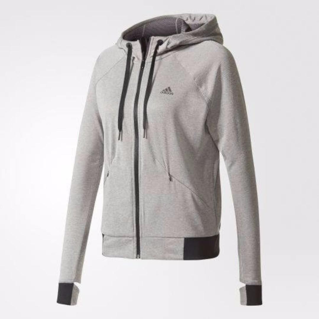 【吉米.tw】ADIDAS 專業運動 修身剪裁 灰色 灰黑 logo 運動 健身 慢跑 連帽 外套 女 BR9760
