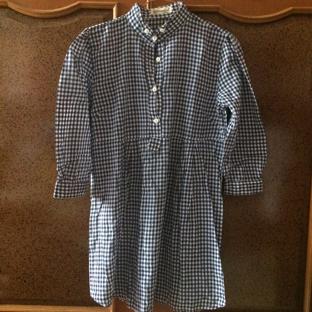 UNBRANDED Checkered Shirt in Black and White size M