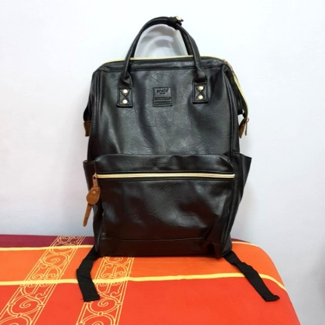 UNUSED Good as New Anello Black Leather Backpack BNWOT
