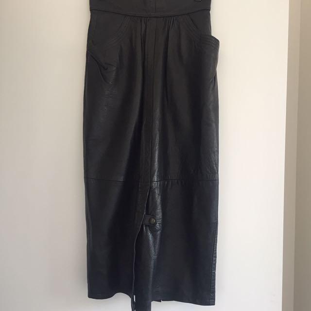 Vintage black real leather maxi skirt