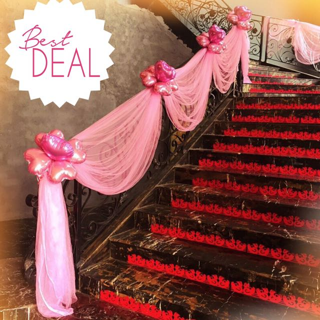 Wedding decoration diy birthday event mesh ribbon balloons stairs wedding decoration diy birthday event mesh ribbon balloons stairs photobooth car deco design craft others on carousell junglespirit Gallery