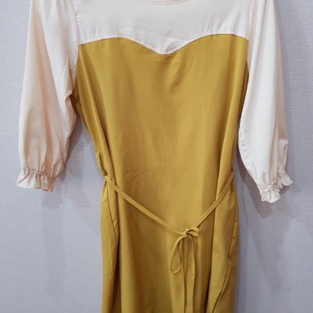 yellow cream mini dress