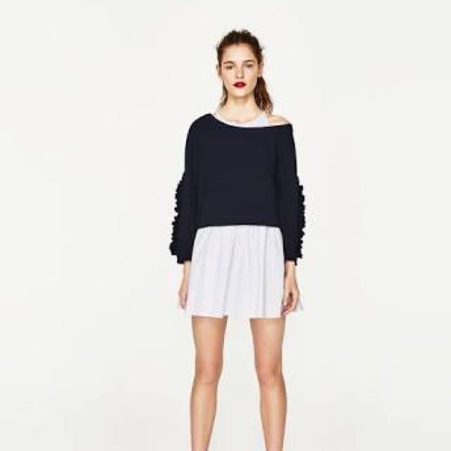 Zara Contrast Dress with Frilled Sleeves