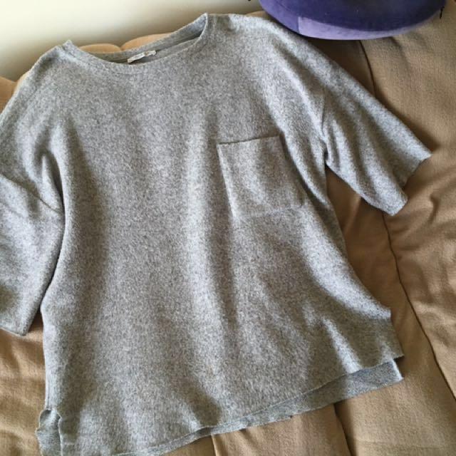 Zara grey jersey loose fit top