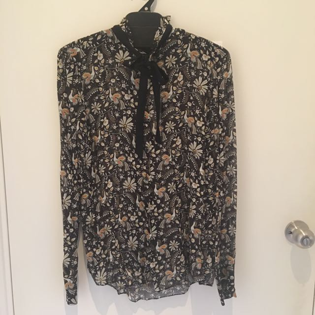 ZARA Tie Up Button Blouse BRAND NEW