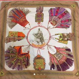 Hermes Silk Scarf cuirs du desert brown 90cm x 90cm
