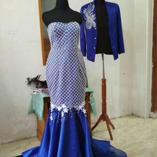 Long gown biru