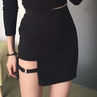 Black cut out skirt