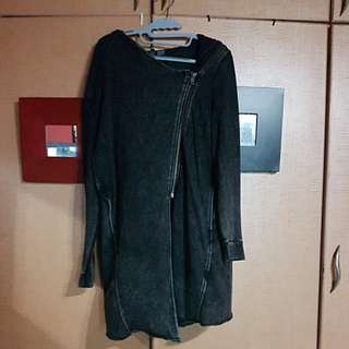 H&M Long Lined Hooded Zipper Sweater Size L