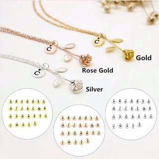 Rose necklace with initial