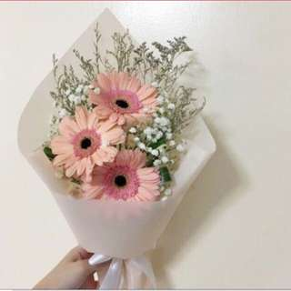 Pastel Peach Gerberas Bouquet with Baby Breath and Caspia Birthday Bouquet
