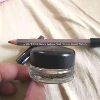 MAC paintpot Soft Ochre and Shiseido in Light Brown