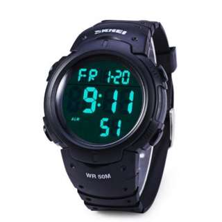 LED Military Watch Outdoor Sport Alarm Stop Water Resistant