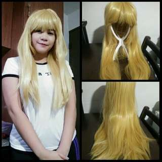 Blonde wig with bangs 65cm