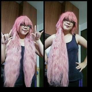 Pink Curly wig with Bangs 80cm