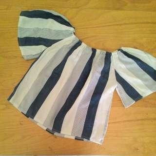 Stripes Off Shpulder Top